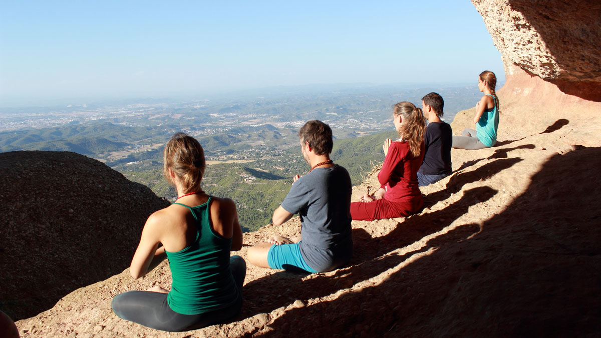 Yoga at Montserrat, Spain
